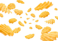Fluted Potato Chips Levitate On A White Background