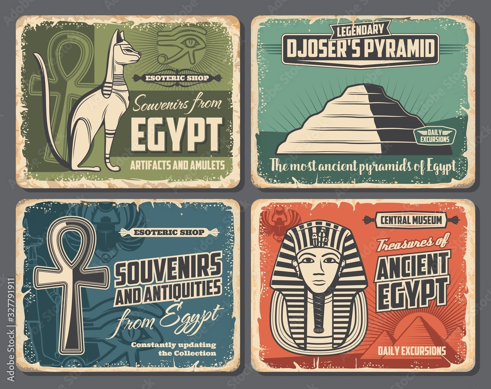 Fototapeta Ancient Egypt symbols, travel tourism, esoteric souvenirs and historic antiquities shop retro vintage posters. Vector Pharaoh pyramid in Cairo or Giza, sacred cat and scarab, mummy and Ankh sign