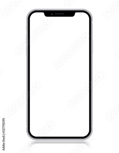 Cuadros en Lienzo Smartphone copy iphone X, XS, iphone 10,  with blank screen isolated on white background
