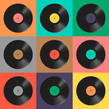 Vinyl Records. Colorful Background. Seamless Pattern.