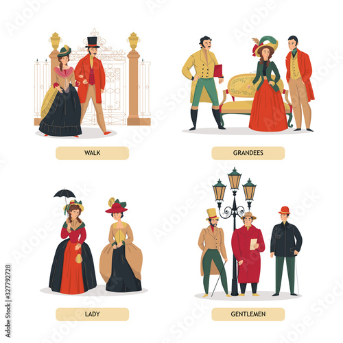 Medieval People Compositions Set Wall mural