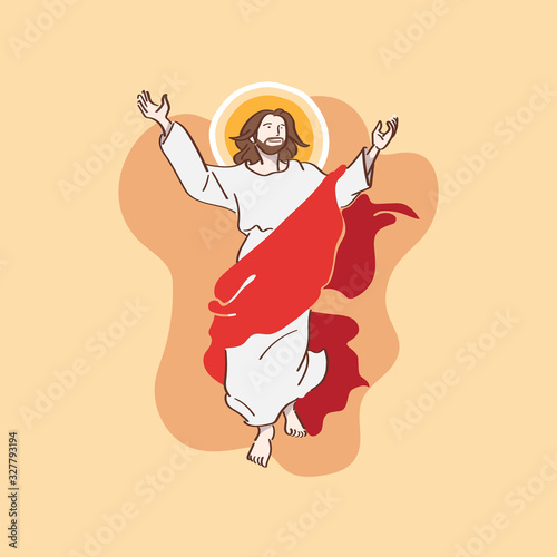 Jesus Rising and Flying Flat Illustration for Easter Day Vectors Canvas Print