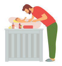 Father Washing Baby In Bathtub...