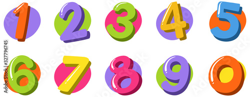 Font design for number one to zero on white background Fototapet