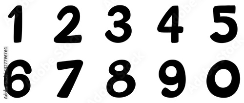 Font design for number one to zero on white background