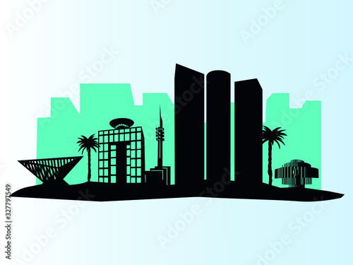 Fotografia Vector Illustration of the Brown City Skyline of Tel Aviv
