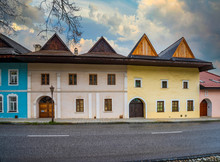 Medieval Town Spisska Sobota With Historic Colorful Houses On Central Street. Poprad City, Slovakia