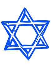 Blue Sketched Illustration Of Star Of David