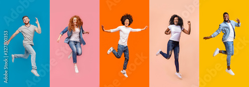 Collage of jumping multinational people on color background, panorama