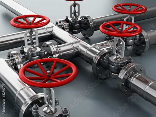 Photo Steel water pipes and valves. 3D illustration
