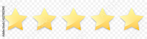 Fototapeta Five golden stars with shadow for review of product rating on a transparent background, for web sites and mobile applications. Vector illustration EPS10 obraz na płótnie