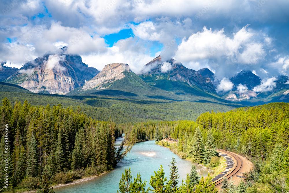 Fototapeta Morant's Curve, famous landscape with railway. Banff National Park, Canada