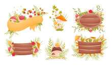 Mushroom And Flower Compositions With Blank Ribbon And Wooden Road Sign Vector Set