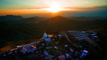 Aerial View Of Temple On Top Of Mountain In Khao Kho Thailand