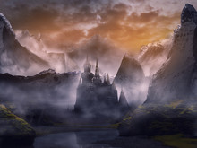 Sunset In The Mountains With Castle Fantasy