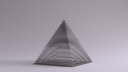 Silver Pyramid Made out of Lots of Small Cubes with a Visual Aliasing Stroboscopic Effect 3d illustration 3d render