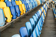 Close up of The Stadium seat colorful. Plastic seat rows at the Arena. Pattern texture of set chairs with empty. The Amphitheater. Sports.