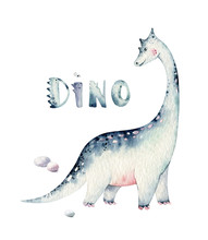 Cute Cartoon Baby Dinosaurs Collection Watercolor Illustration, Hand Painted Dino Isolated On A White Background For Nursery Poster Decoration. Rex Children Funny Art