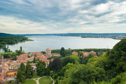panorama of the lake from the view of the fortress of Angera in Italy Fototapeta
