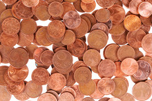 One, Two And Five Euro Cent Coins Background. End Of Small Change Or Cash