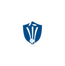 Cricket Wickets And Ball Logo. Wicket And Bails Logo, Equipment Sign. Cricket Championship Logo. Modern Sport Emblem Vector Illustration. Cricket Logo