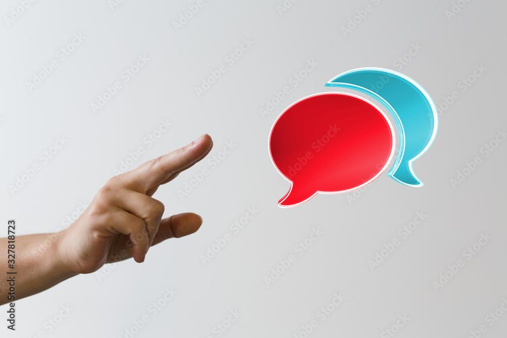 Fototapeta Empty speech bubble hands feedback communication..