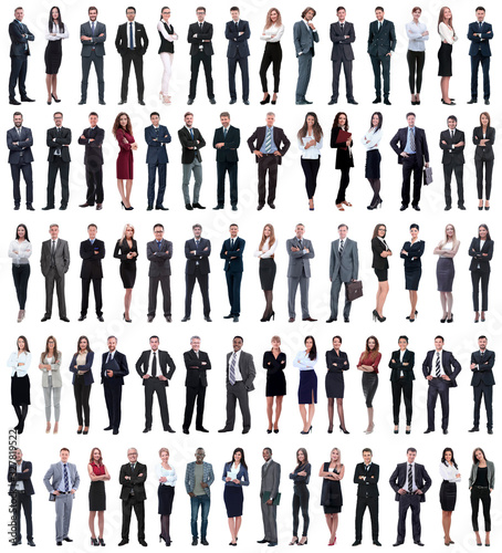 Obraz collage of young business people standing in a row. - fototapety do salonu