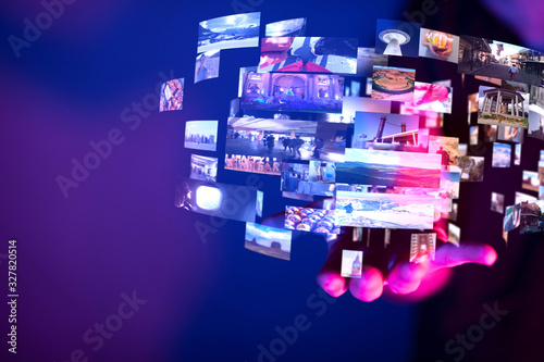 Leinwand Poster Internet broadband and multimedia streaming entertainment