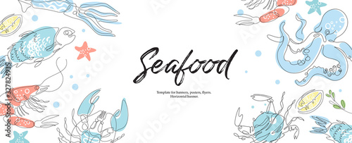Fotografie, Obraz Lobster, fish, crab, shrimp, octopus, squid