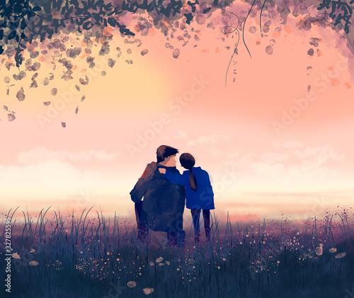 Fototapeta illustrazione padre e figlia per la festa del papà