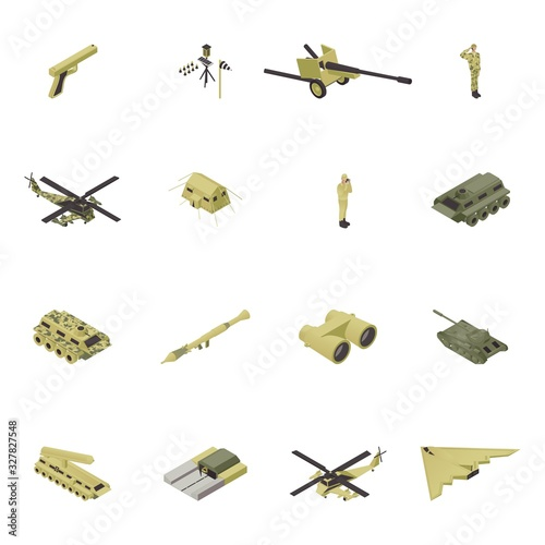 Photo Isometric army vector illustration, military weapon for war, guns design isolated set