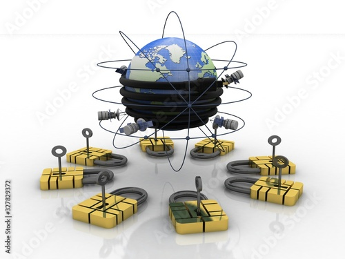 Photo 3d illustration Space satellite orbit with aux cable connected globe