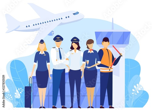Carta da parati Airport crew standing together, professional airline team in uniform, vector illustration