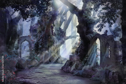 into the deep woods, atmospheric landscape with archway and ancient trees, misty and foggy mood - 327831748