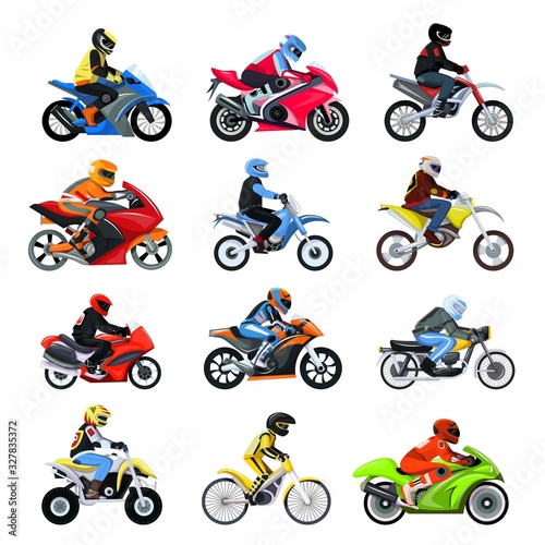 Fotografia Motorcycle bikers set vector illustration isolated on white, different type motorcyclist characters on sport motorbikes