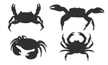 Vector Silhouette Of A Crab On...