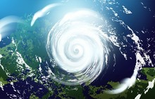 View Of A Huge Hurricane From The Space. Vector Realistic Illustration.