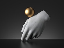 3d Render, Golden Ball Balancing On Mannequin Hand, Isolated On Black Background, Magical Trick Modern Minimal Concept, Simple Clean Design. Human Limb Prosthesis. Concrete Sculpture Art Object