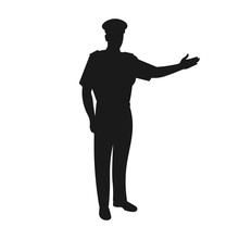 Silhouette Of A Standing Male Airline Or Airplane Pilot Welcoming People On Board. Smiling Plane Captain Or Crew Or Commander. Airline Uniform - Simple Vector Icon Sign Or Symbol Illustration.