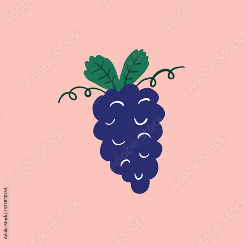 Modern cartoon colorful flat stylized Italian icon symbol, cute illustration. Doodle landmarks concept, traditional object of Italy. Food and drinks theme. Grape bunch with leaves. Vector EPS clip art