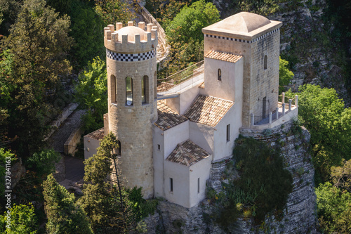 Fényképezés Torretta Pepoli castle in Erice, small town located on a mountain near Trapani c