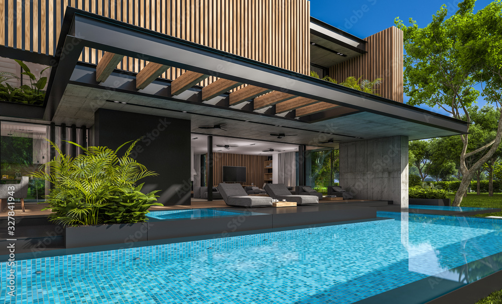 Fototapeta 3d rendering of modern cozy house with parking and pool for sale or rent with wood plank facade and beautiful landscaping on background. Clear sunny summer day with blue sky.