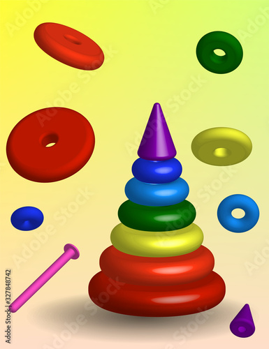 children's pyramid, a disassembled educational toy for babies