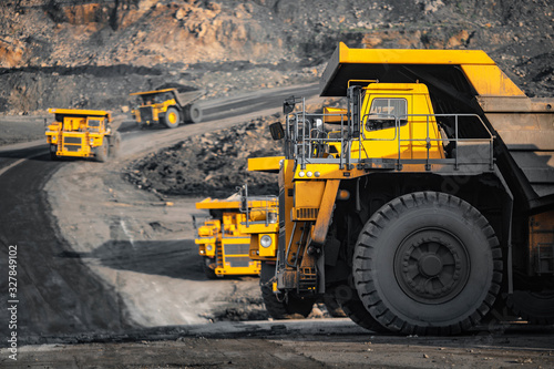 Open pit mine industry, big yellow mining truck for coal anthracite Wallpaper Mural