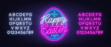 Happy Easter Neon Lettering In The Shape Of An Egg. Glowing Greeting Card. Neon Alphabet On A Dark Background.