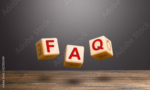 Wooden blocks make word abbreviation FAQ (frequently asked questions) Wallpaper Mural