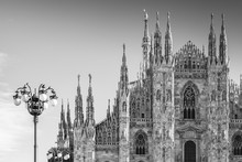 Milan Cathedral. Lombardy, Italy. Black And White