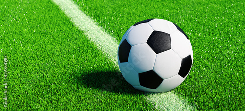 obraz PCV Football on pitch on the center line on artificial turf, EM 2020