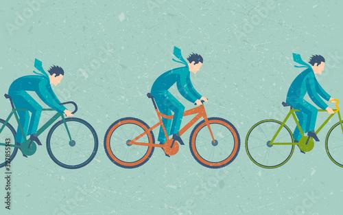 Fototapeta tre biciclette diverse con taglio laterale
