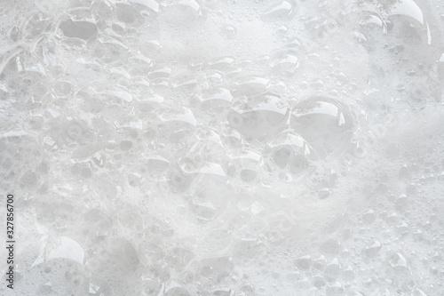 Fotografia, Obraz closeup bubbles foam white background from washing